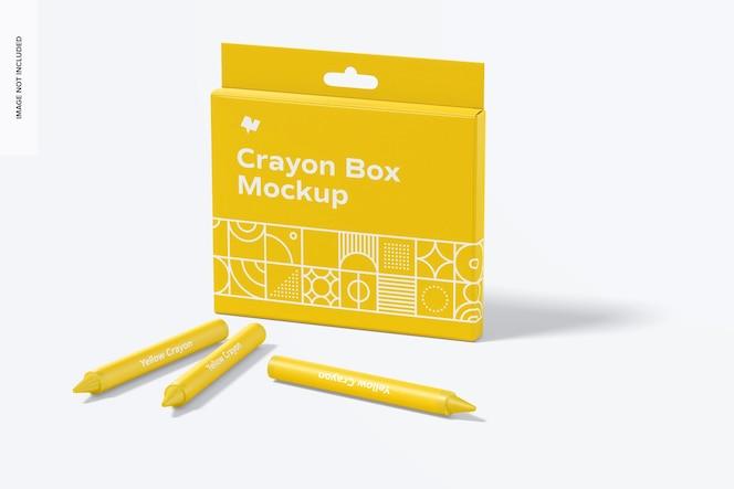 Maqueta de caja de crayones, vista en perspectiva
