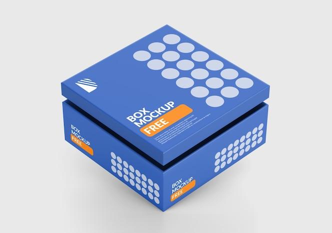 Maqueta de caja cuadrada aislada