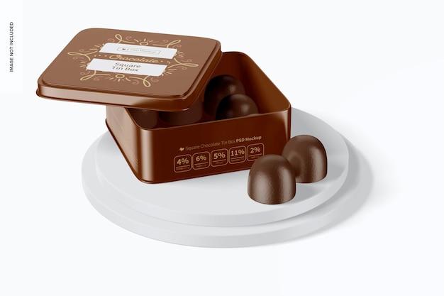 Maqueta de caja cuadrada de lata de chocolate, abierta