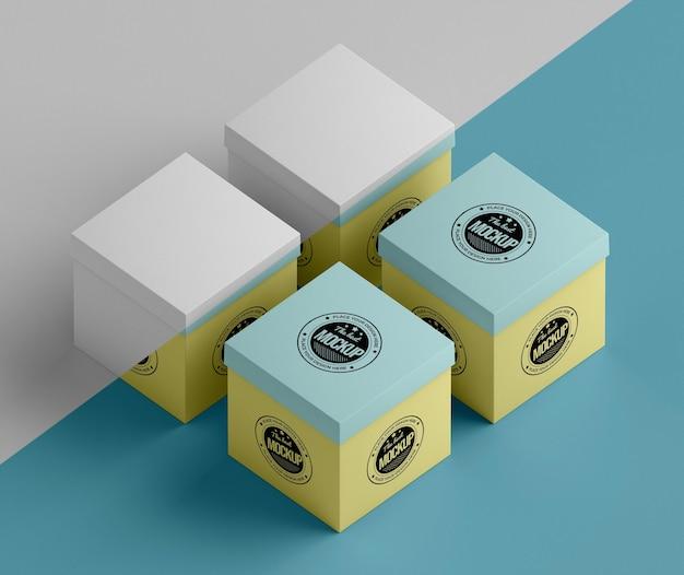Maqueta de caja de embalaje de alto ángulo