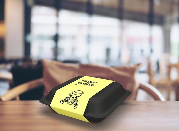 Maqueta de caja de empaque de hamburguesa de comida rápida