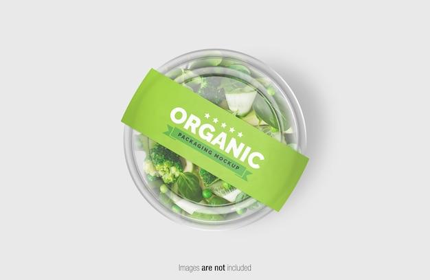 Maqueta de caja de ensalada verde con etiqueta de cubierta de papel