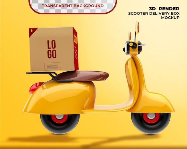 Maqueta de caja de entrega con scooter 3d render