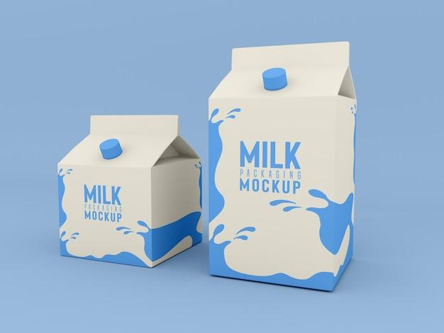 Maqueta de caja de envasado de leche