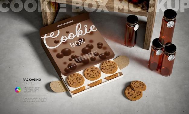 Maqueta de caja de galletas de papel para llevar