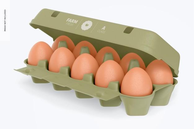 Maqueta de caja de huevos, abierta
