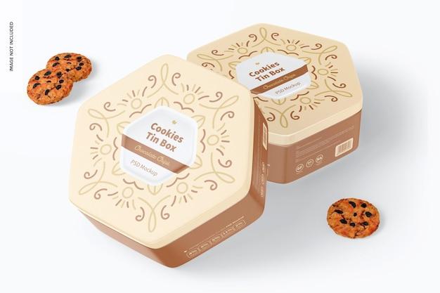 Maqueta de caja de lata de galletas hexagonales, inclinada