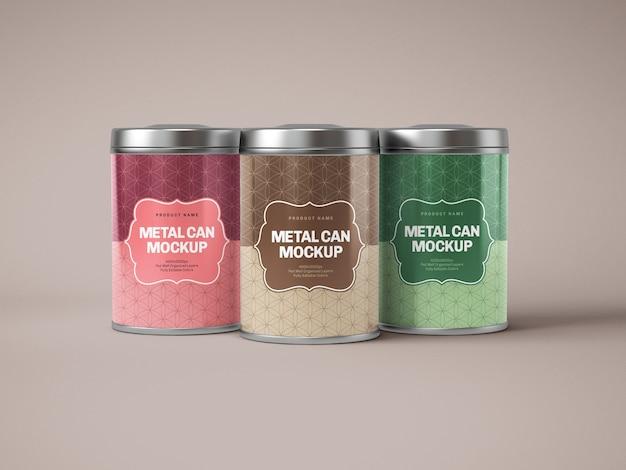 Maqueta de caja de lata de metal brillante