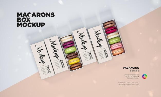 Maqueta de caja de macarons franceses
