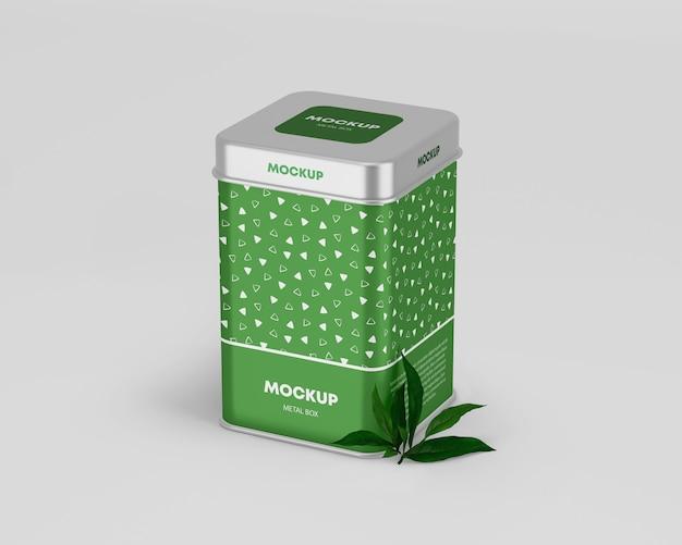 Maqueta de caja metálica de estaño