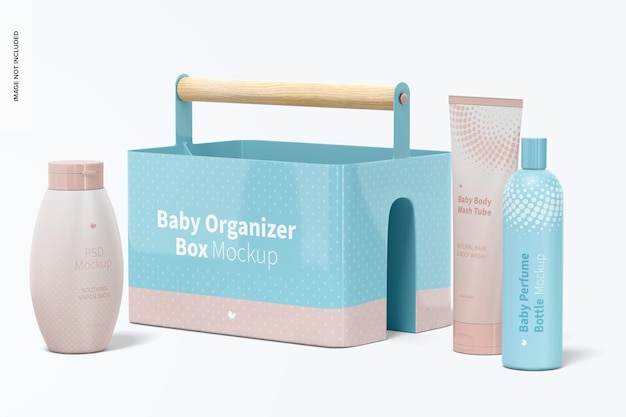 Maqueta de caja organizadora para bebés, vista derecha