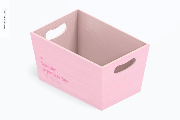 Maqueta de caja organizadora de madera, vista isométrica izquierda
