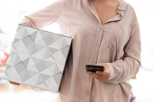 Maqueta de caja de papel de entrega psd