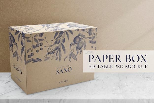 Maqueta de caja de papel floral psd, diseño de empaque editable