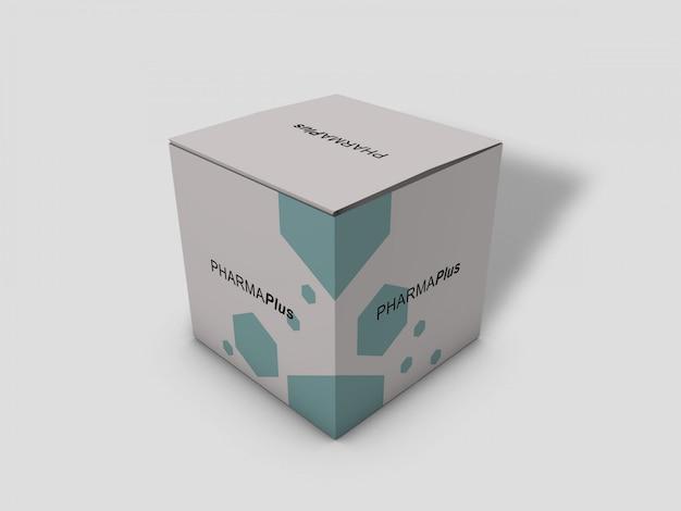 Maqueta de caja de paquete de cartón cuadrado largo sobre fondo gris claro