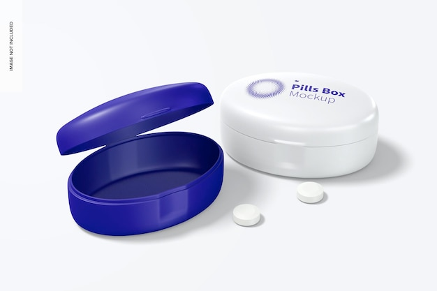 Maqueta de caja de pastillas ovalada