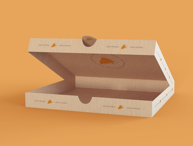 Maqueta de caja de pizza abierta