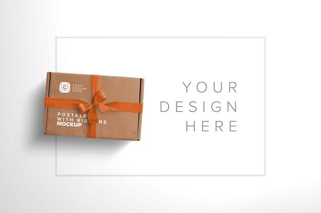 Maqueta de caja postal con lazo y cintas