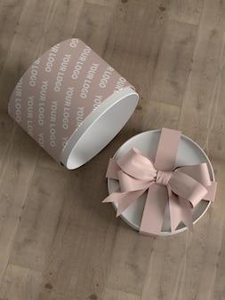 Maqueta de caja de regalo de cubo