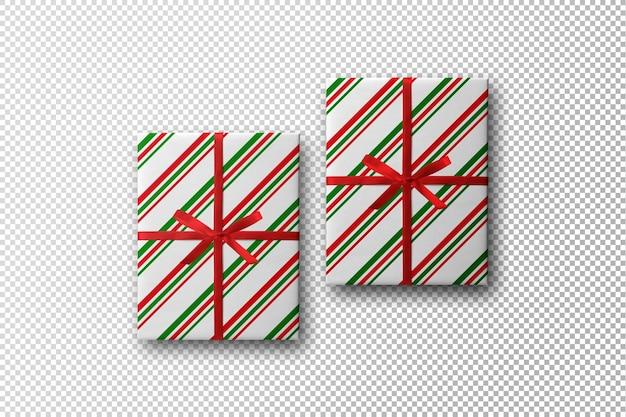 Maqueta de caja de regalo con diseño navideño