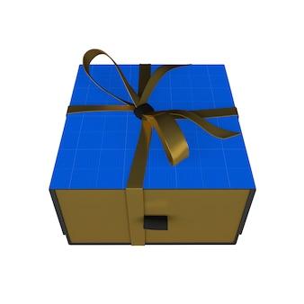 Maqueta de caja de regalo dorada y oscura