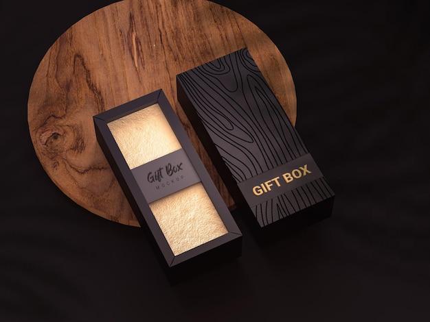 Maqueta de caja de regalo con madera