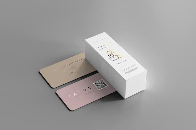 Maqueta de caja con tarjetas de visita