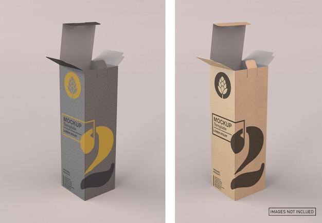 Maqueta de caja de vino de papel kraft