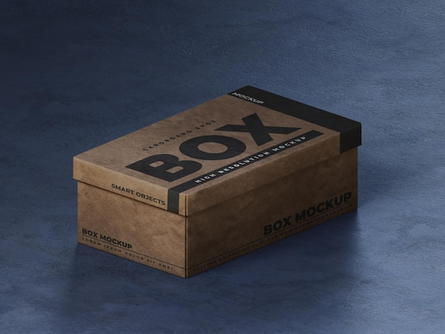 Maqueta de caja de zapatos de cartón