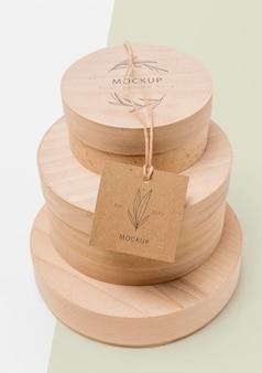 Maqueta de cajas de cartón de embalaje ecológico apiladas