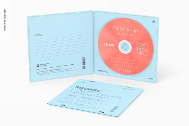 Maqueta de cajas de cd de plástico cuadradas, abiertas y cerradas