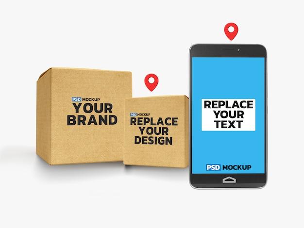 Maqueta de cajas de entrega en línea con teléfono inteligente