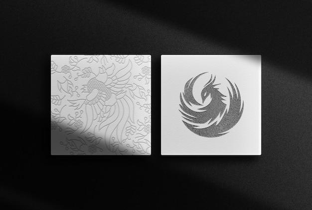Maqueta de cajas en relieve negras de lujo