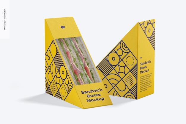 Maqueta de cajas de sándwich, vista izquierda y derecha