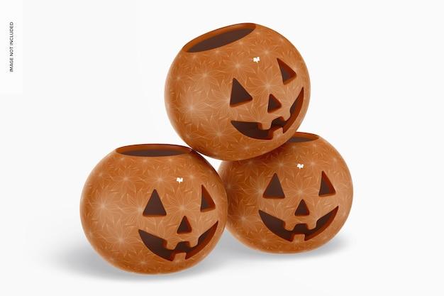 Maqueta de calabazas de halloween de cerámica, apiladas