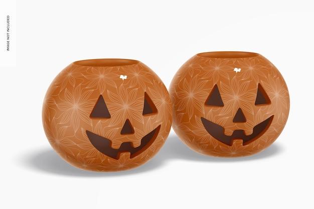 Maqueta de calabazas de halloween de cerámica