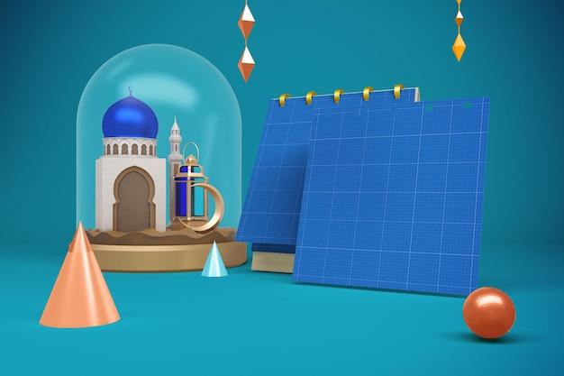 Maqueta de calendario cuadrado de ramadán