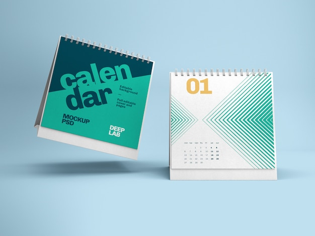 Maqueta de calendario de escritorio cuadrado