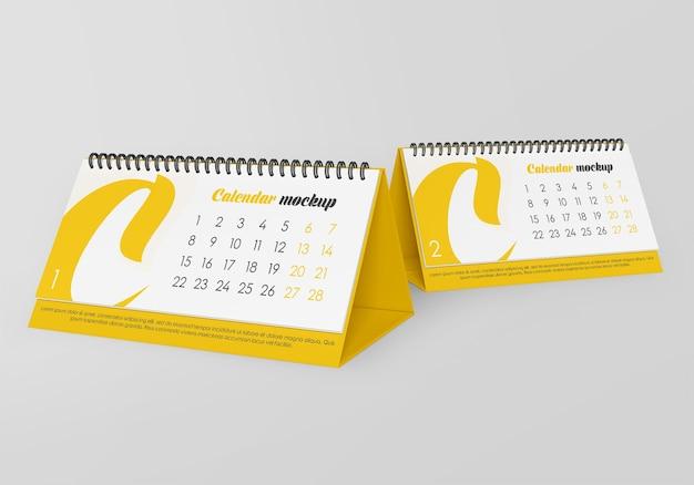 Maqueta de calendario de escritorio en espiral