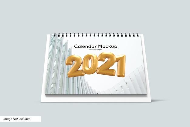 Maqueta de calendario de escritorio de paisaje aislado