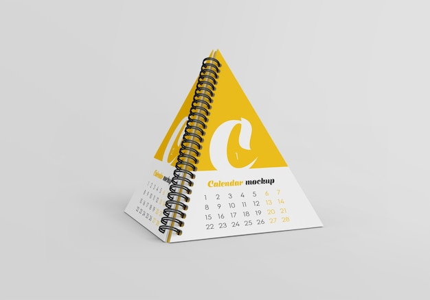 Maqueta de calendario de escritorio de pirámide espiral