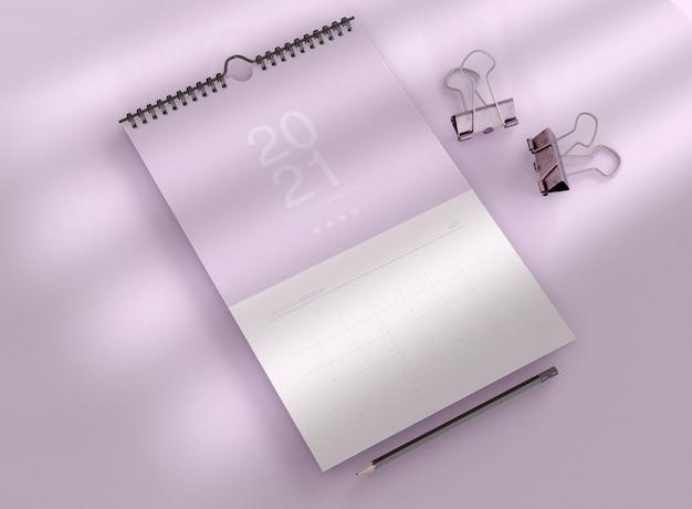 Maqueta de calendario en espiral
