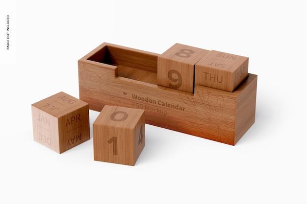 Maqueta de calendario de madera