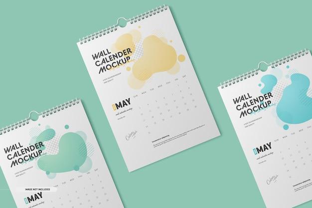 Maqueta de calendario de pared en espiral