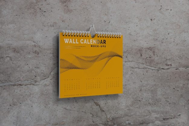 Maqueta de calendario de pared horizontal