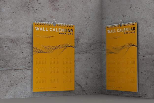 Maqueta de calendario de pared vertical