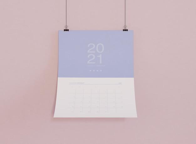 Maqueta de calendario en la pared