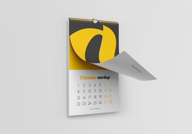 Maqueta de calendario de pared
