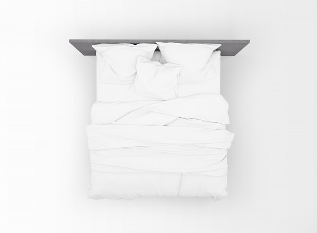 Maqueta de cama doble moderna aislada en la vista superior
