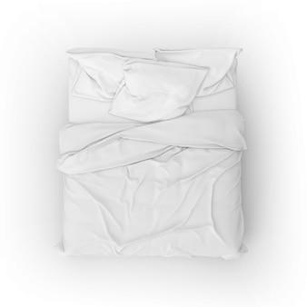 Maqueta de cama con sábanas y almohadas blancas